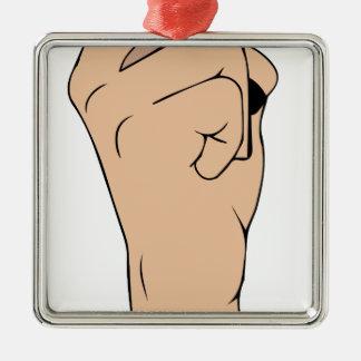 Respect finger metal ornament