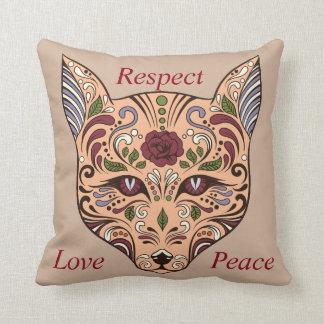 Respect Love Peace Sugar Skull Wolf Mauve Pillow