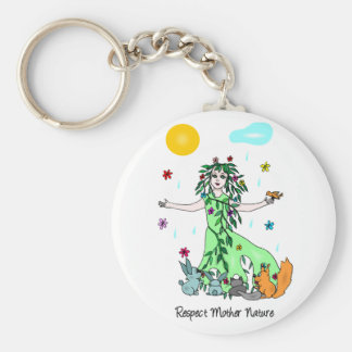 Respect Mother Nature Basic Round Button Key Ring
