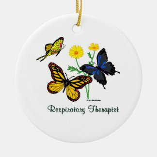Respiratory Therapist Butterflies Ceramic Ornament