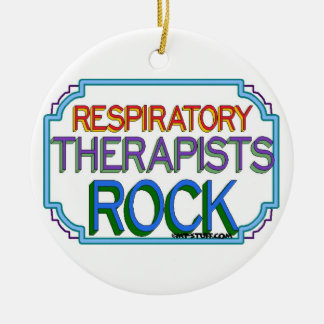 Respiratory Therapists Rock Ceramic Ornament