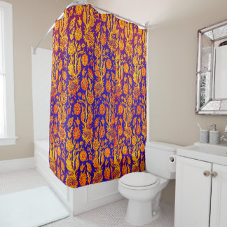 Resplendent Floral Red Blue Pattern Shower Curtain