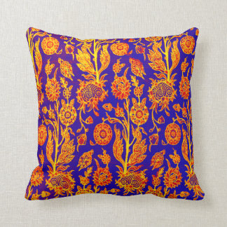 Resplendent Floral Yellow Red Blue Pattern Pillow