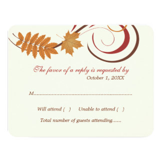 "Response Card | Falling Leaves Theme 4.25"" X 5.5"" Invitation Card"