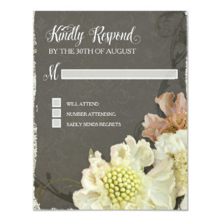 Response Card Wedding Modern Painterly Floral Art