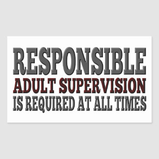 Responsible Adult Supervision Required Rectangular Sticker