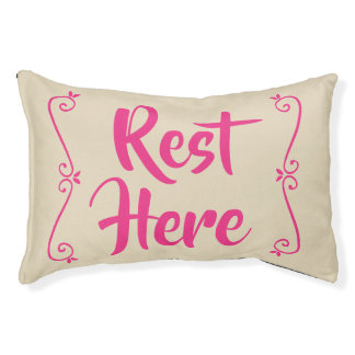 Rest Here Pet Bed (Beige with Hot Pink)