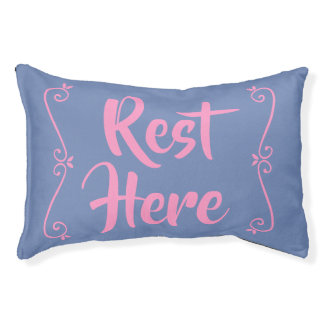 Rest Here Pet Bed (Blue with Pink)