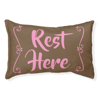 Rest Here Pet Bed (Brown with Pink)
