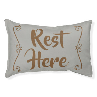 Rest Here Pet Bed (Grey with Brown)