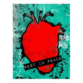 rest in peace emo heart postcard