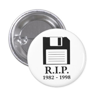 Rest in Peace RIP Floppy Disk 3 Cm Round Badge