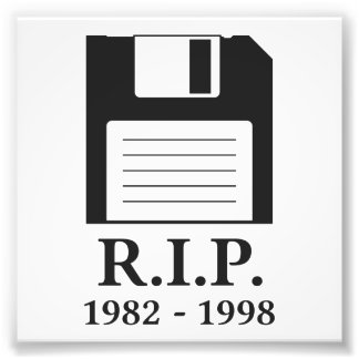 Rest in Peace RIP Floppy Disk Photographic Print