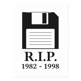 Rest in Peace RIP Floppy Disk Postcard