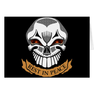 Rest In Peace Skull Biker T shirts Gifts Greeting Card
