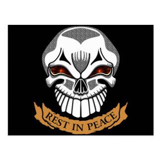Rest In Peace Skull Biker T shirts Gifts Postcard