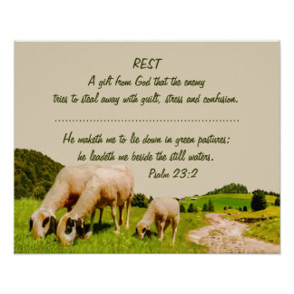 Rest Inspirational Psalm 23:2 Quote Poster