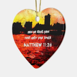 Rest Matthew 11 28-30 Ceramic Ornament