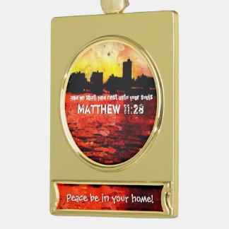 Rest Matthew 11 28-30 Gold Plated Banner Ornament