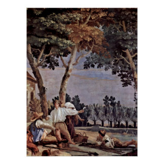 Rest of the peasants by Giovanni Domenico Tiepolo Poster