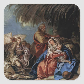 Rest on the Flight to Egypt by Giovanni Tiepolo Square Sticker
