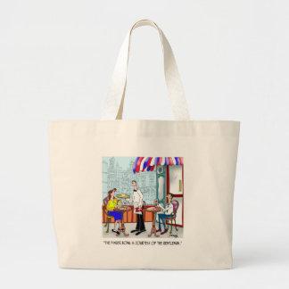 Restaurant Cartoon 9370 Large Tote Bag