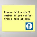 Restaurant Food Allergy notice Print