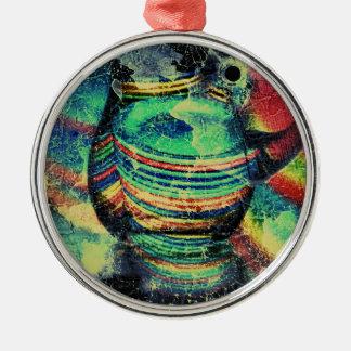 Restaurant Grunge Silver-Colored Round Decoration