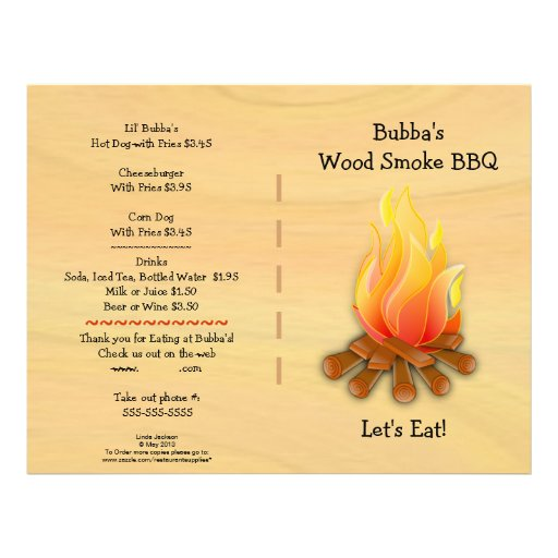 Restaurant Supplies  BBQ Menu Flyer