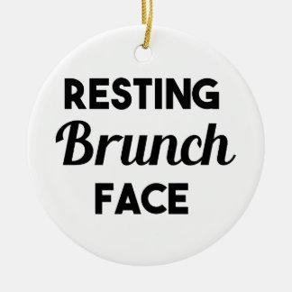 Resting Brunch Face Ceramic Ornament