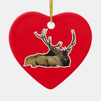 Resting bull elk ceramic heart decoration