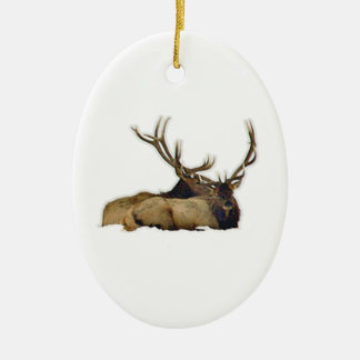 Resting bull elk ceramic oval decoration