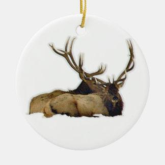 Resting bull elk round ceramic decoration