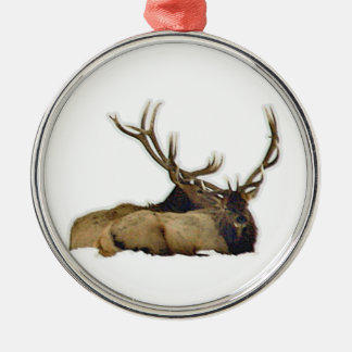 Resting bull elk Silver-Colored round decoration