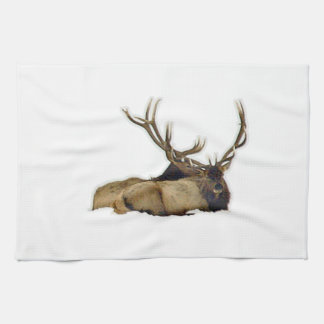 Resting bull elk tea towel