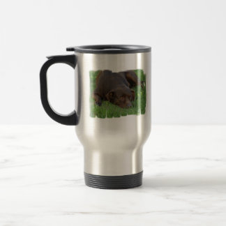 Resting Chocolate Lab Travel Mug