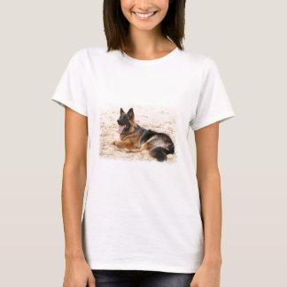 Resting German Shepherd Dog Ladies Fitted T-Shirt
