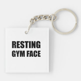 Resting Gym Face Double-Sided Square Acrylic Key Ring