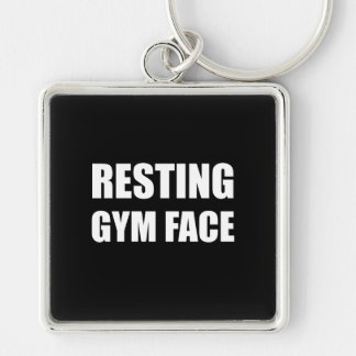 Resting Gym Face Silver-Colored Square Key Ring