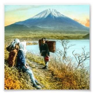Resting on the Roadside to Mt. Fuji Vintage Art Photo