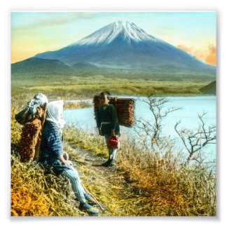 Resting on the Roadside to Mt. Fuji Vintage Photo Print