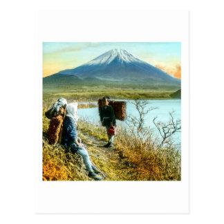 Resting on the Roadside to Mt. Fuji Vintage Postcard