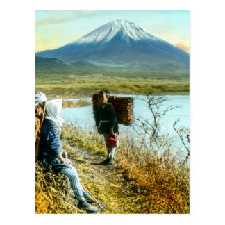 Resting on the Roadside to Mt. Fuji Vintage Postcard
