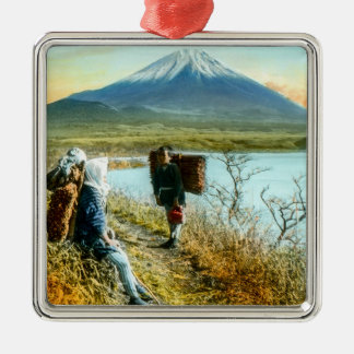 Resting on the Roadside to Mt. Fuji Vintage Silver-Colored Square Decoration