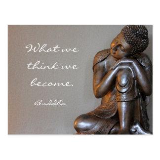 Resting peaceful silver Buddha words of wisdom Postcard