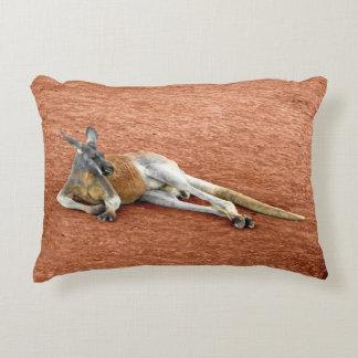 Resting Red Kangaroo Buck Decorative Cushion