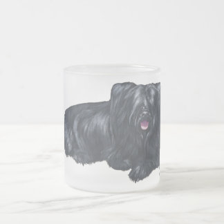 Resting Skye Terrier Frosted Glass Coffee Mug