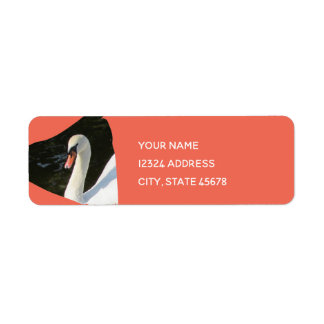 Resting Swan in Triangle Pattern Return Address Label
