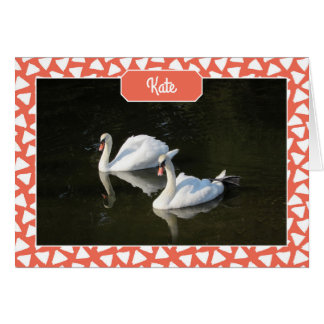 Resting Swans with Salmon Triangle Pattern Card