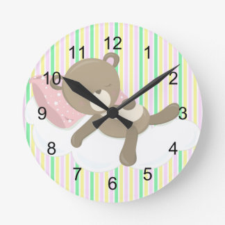 Resting Teddy Bear on Stripes Round Clock